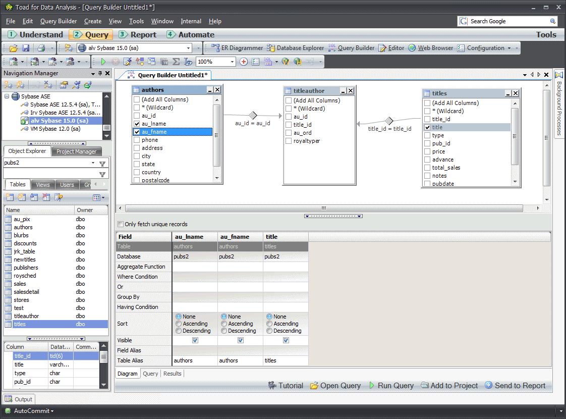 toad data analysis sybasewiki